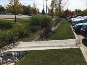 Curb cut in parking lot to a rain garden