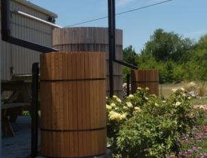 Rain barrels for harvesting rainwater