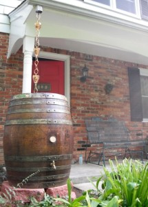 Rain barrel near front door
