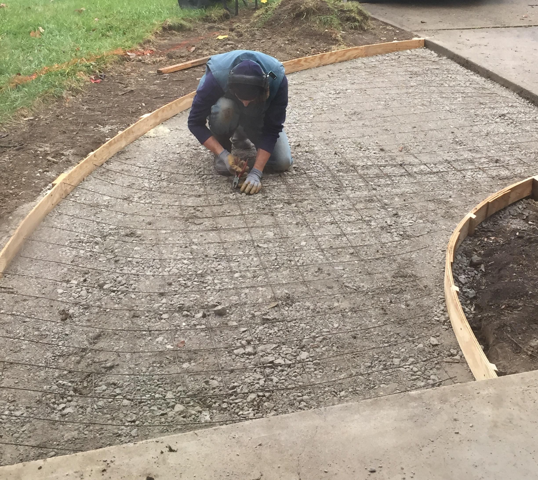 Preparing a concrete path