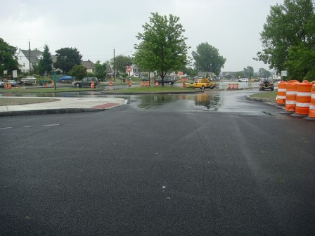 A permeable parking lot allows rainwater to pass through